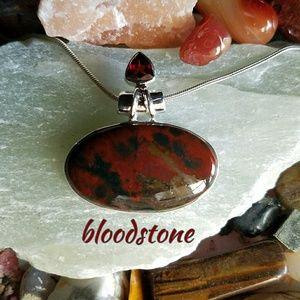 Bloodstone Garnet Necklace Sterling Silver NEW